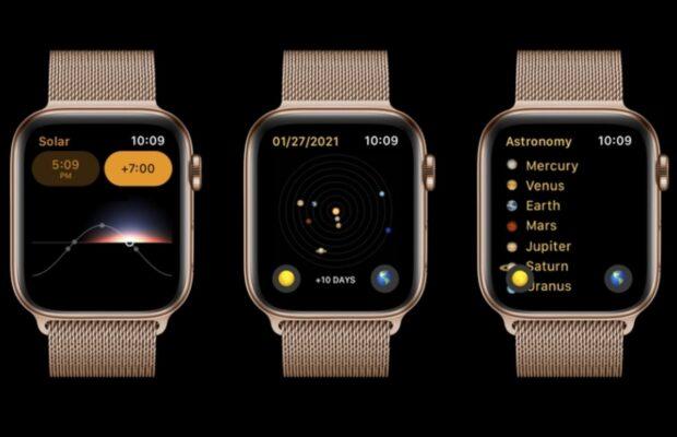 watchos 8 concept astronomie wijzerplaat wordt app