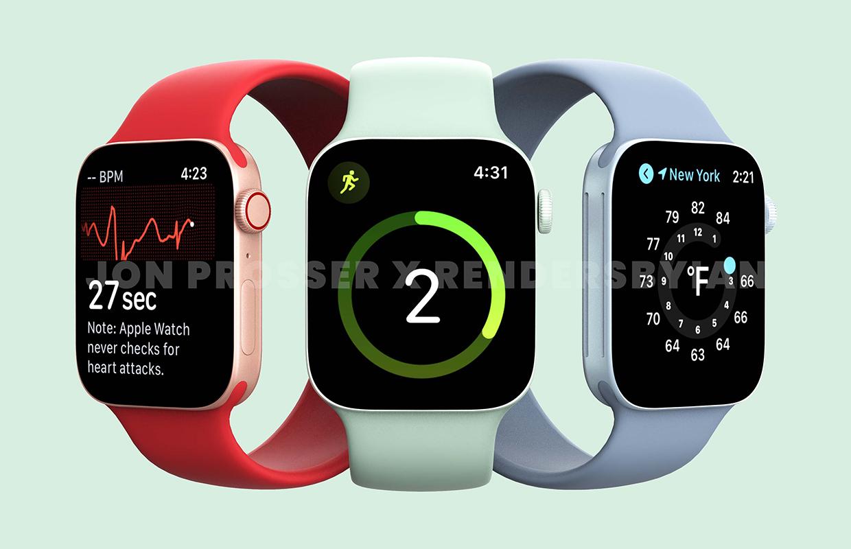 'Renders tonen Apple Watch Series 7 met nieuwe kleuren en plat ontwerp'
