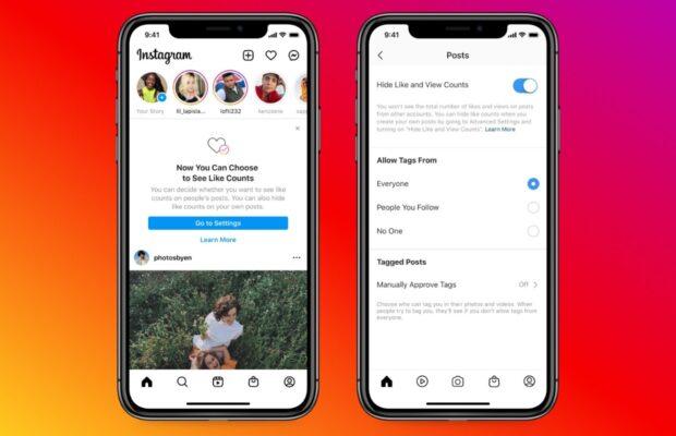 Instagram likes verbergen screens