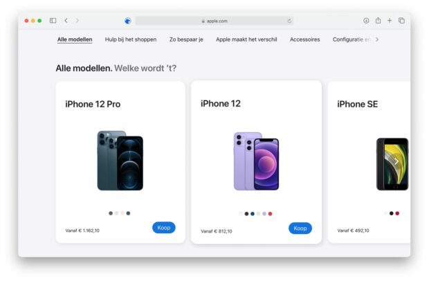 Online Apple Store iPhone pagina