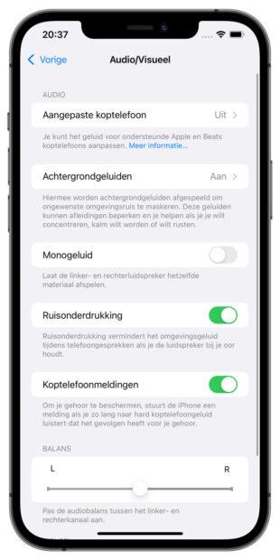 iOS 15 achtergrondgeluiden