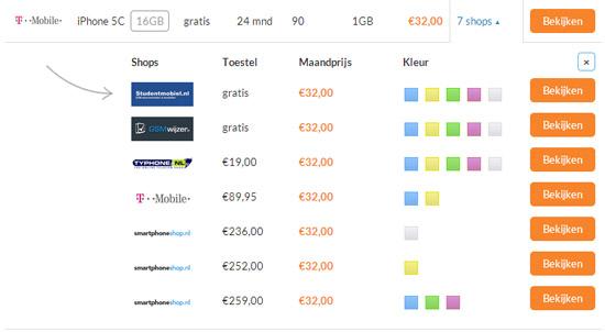 iPhone prijsvergelijker dropdown